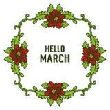 Wektorowy ilustracyjny kszta?t karta marsz z okwitni?cie kwiatu ram? cze?? ilustracji