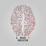 Wektorowy Ilustracyjny móżdżkowy pojęcie w kreskowym stylu dla technologa, kreatywnie projekt Stylizowany mózg Elektroniczny umys Zdjęcia Stock