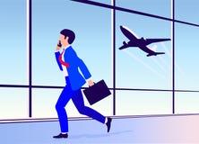 Wektorowy ilustracyjny młody człowiek śpieszy na samolocie przy lotniskiem ilustracji