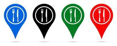 Wektorowy ilustracyjny mapa pointer z restauracyjną ikoną royalty ilustracja