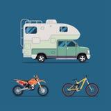Wektorowy ilustracyjny mieszkanie najlepszy sztandar dla camping, agenci podróży, plenerowe aktywność, sporty i plenerowy odtwarz Obrazy Stock