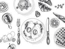 Wektorowy ilustracyjny nakreślenie - śniadanie menu Karciany śniadanio-lunch projekta szablon, sztandar ilustracja wektor