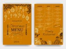Wektorowy ilustracyjny nakreślenie kartka z pozdrowieniami i wakacyjny projekt - Rocznika Xmas menu royalty ilustracja
