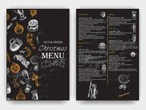 Wektorowy ilustracyjny nakreślenie - rocznika menu Kawa Boże Narodzenia wręczają patroszone dekoracje - futerkowy drzewo dla xmas ilustracji