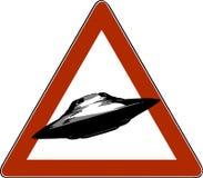 Wektorowy ilustracyjny niebezpieczeństwo drogowych znaków UFO, ikona ilustracja wektor