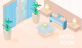 Wektorowy Ilustracyjny Nowożytny pokój hotelowy Isometric ilustracja wektor