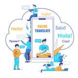 Wektorowy Ilustracyjny Online Tłumaczy Używać Chatbot ilustracji