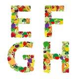 Wektorowy ilustracyjny owoc i warzywo abecadła list ilustracji