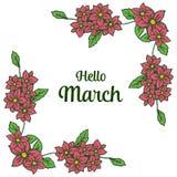 Wektorowy ilustracyjny ozdobny okwitnięcie kwiatów rama z pisać cześć marszu royalty ilustracja