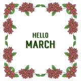 Wektorowy ilustracyjny ozdobny okwitnięcie kwiatów rama z pisać cześć marszu ilustracja wektor