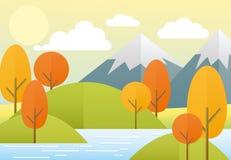 Wektorowy ilustracyjny płaski jesieni natury krajobraz Kolorowa natura, góry, jezioro, słońce, drzewa, chmury Jesień widok wewnąt ilustracji