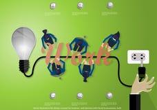 Wektorowy ilustracyjny płaski projekta pojęcie dla biznesowych sieć sztandarów z ręką, biznesmen, żarówka Obraz Stock