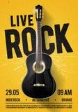 Wektorowy Ilustracyjny Piękny Żywy Klasyczny muzyka rockowa plakata szablon Dla Koncertowej promocji w klubach, barach, pubach i  royalty ilustracja