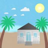 Wektorowy ilustracyjny plażowego domu hotel Fotografia Stock