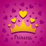Wektorowy ilustracyjny pojęcie Princess korona z sercami Ikona na różowym tle royalty ilustracja