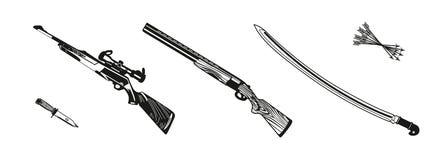 Wektorowy ilustracyjny polowanie karabin barwił, czarny i biały, sylwetka ilustracji