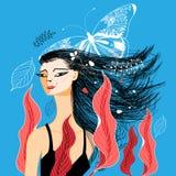 Wektorowy ilustracyjny portret piękna dziewczyna Zdjęcie Royalty Free