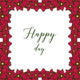 Wektorowy ilustracyjny projekt pisze list szczęśliwego dzień z okwitnięcie kwiatu ramą royalty ilustracja