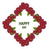 Wektorowy ilustracyjny projekt pisze list szczęśliwego dzień z okwitnięcie kwiatu ramą ilustracja wektor