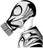 Wektorowy ilustracyjny projekt pociągany ręcznie czarny i biały istota ludzka w benzynowej ochrony masce odizolowywającej na biał royalty ilustracja