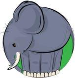 Wektorowy ilustracyjny projekt pociągany ręcznie popielaty słoń w zielonym okręgu odizolowywającym na białym tle ilustracji