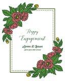 Wektorowy ilustracyjny projekt szczęśliwy zobowiązanie z czerwienią kwitnie i kwitnąć kwitnie royalty ilustracja