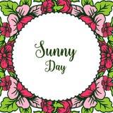 Wektorowy ilustracyjny projekta słoneczny dzień z okwitnięcie kwiatu ramą ilustracja wektor