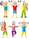 Wektorowy ilustracyjny sport zdrowy i czas wolny aktywność starzy ludzie Obrazy Royalty Free