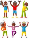 Wektorowy ilustracyjny sport zdrowy i czas wolny aktywność starzy ludzie royalty ilustracja