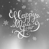 Wektorowy ilustracyjny szczęśliwy nowy rok niebieski zamazujący tła spadnie śnieg wally Literowania kartka z pozdrowieniami spadn Obraz Royalty Free