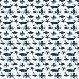Wektorowy ilustracyjny tło wizerunek składa się sylwetki oceanów ssaki, ośmiornicy i błękit ryby na białym tle, royalty ilustracja
