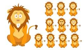 Wektorowy ilustracyjny ustawiający śmiesznego kreskówki brązu dziki lew z wyrazami twarzy trochę ilustracja wektor