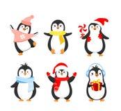 Wektorowy ilustracyjny ustawiający śmieszni Bożenarodzeniowi pingwiny w ciepłym odziewa Śliczni pingwiny inkasowi dla zima wakacj ilustracja wektor