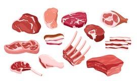 Wektorowy ilustracyjny ustawiający świeżego mięsa ikony, kawałki świeży smakowity mięso, stek, ziobro w mieszkaniu projektuje Gas royalty ilustracja