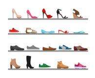 Wektorowy ilustracyjny ustawiający buty Inkasowi mężczyzna s i kobiety s przyprawiają obuwie na shelfs Modny różny royalty ilustracja