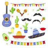 Wektorowy ilustracyjny ustawiający dekoracyjni elementy dla fiesta Kolekcja Cinco de Mayo projekt, płaski kreskówka styl royalty ilustracja