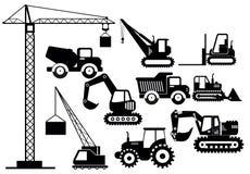 Wektorowy ilustracyjny ustawiający ekskawatorów i ciężkiej budowy maszyn ikony Sylwetki ilustracyjny wyposażenie i royalty ilustracja