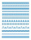 Wektorowy ilustracyjny ustawiający Greccy wzory i ornamenty na białym tle Fala i meanderu dekoracyjni elementy ustawiający royalty ilustracja