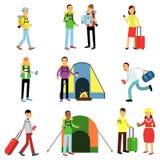 Wektorowy ilustracyjny ustawiający mężczyzna i kobieta turyści w akci Podróżnicy z bagażem, campingowy odtwarzanie, rodzina Obraz Stock