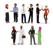 Wektorowy ilustracyjny ustawiający muzułmańscy mężczyzna i kobieta charaktery opowiada, robić biznesowi wpólnie Arabscy ludzie bi ilustracji