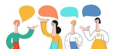 Wektorowy ilustracyjny ustawiający opowiadać ludzi z mową gulgocze royalty ilustracja