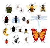 Wektorowy ilustracyjny ustawiający różni typ insekty w mieszkanie stylu projekta ikonach Pszczoła, komarnica i dragonflies, pająk ilustracja wektor
