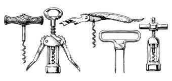 Wektorowy ilustracyjny ustawiający corkscrews Zdjęcia Stock