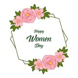 Wektorowy ilustracyjny wystrój szczęśliwy kobieta dzień dla projekt grafiki zieleni liścia kwiecistych ram ilustracji