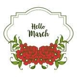 Wektorowy ilustracyjny zaproszenie marsz z okwitni?cie kwiatu ram? cze?? ilustracji