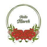 Wektorowy ilustracyjny zaproszenie marsz z okwitni?cie kwiatu ram? cze?? royalty ilustracja