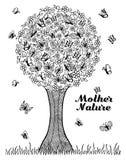 Wektorowy ilustracyjny zentagl drzewo na którym motyle osiedlał Doodle rysunek Medytacyjni ćwiczenia Kolorystyki książka a Zdjęcia Stock