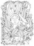 Wektorowy ilustracyjny zentangl dziewczyny dziecko z piegami śpi z kotami w kwiatach Obrazy Stock