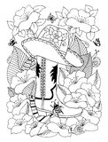 Wektorowy ilustracyjny zentangl kowbojski kapelusz buty wśród kwiatów i Doodle rysunek Medytacyjni ćwiczenia Kolorystyki książka  zdjęcie stock