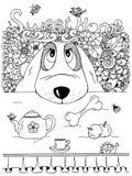 Wektorowy ilustracyjny zentangl, pies i kuchenny stół, Doodle kwiaty Medytacyjny ćwiczenie Kolorystyki książki anty stres dla ilustracja wektor